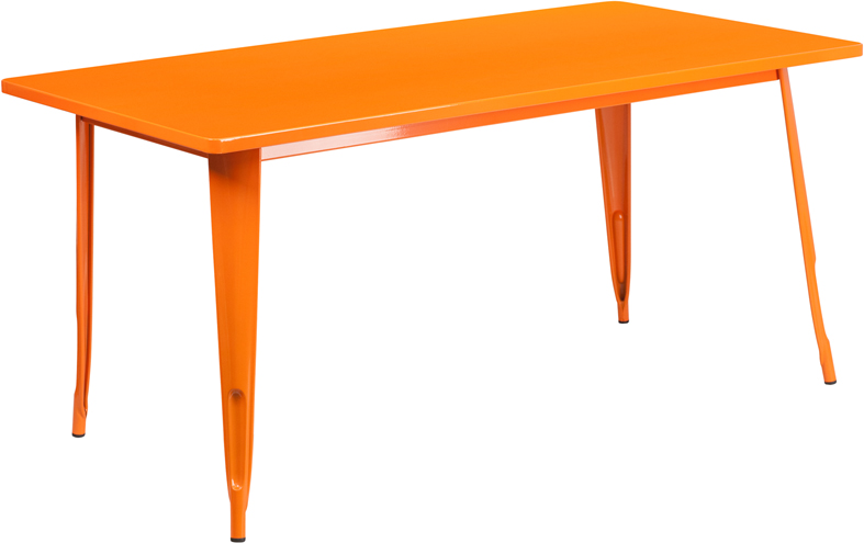 ERGONOMIC HOME 31.5'' x 63'' Rectangular Orange Metal Indoor-Outdoor Table