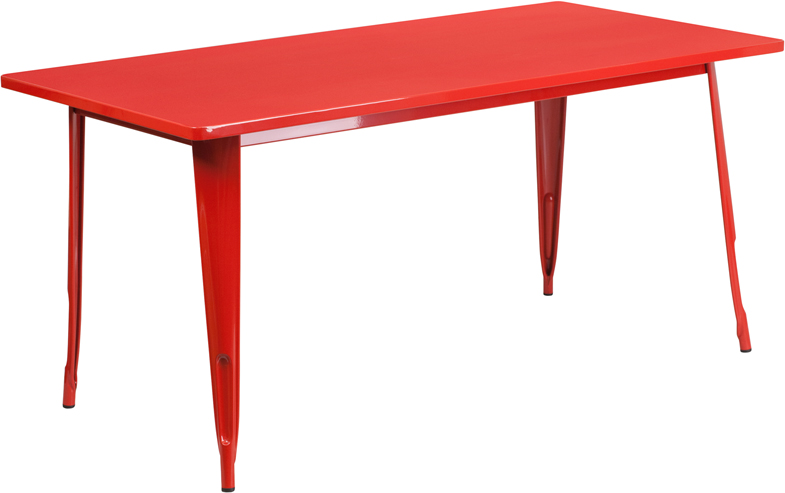 ERGONOMIC HOME 31.5'' x 63'' Rectangular Red Metal Indoor-Outdoor Table