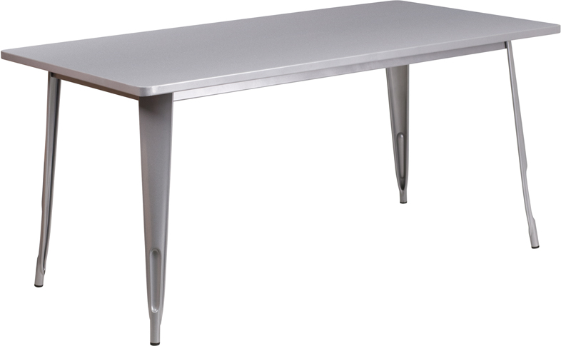 ERGONOMIC HOME 31.5'' x 63'' Rectangular Silver Metal Indoor-Outdoor Table