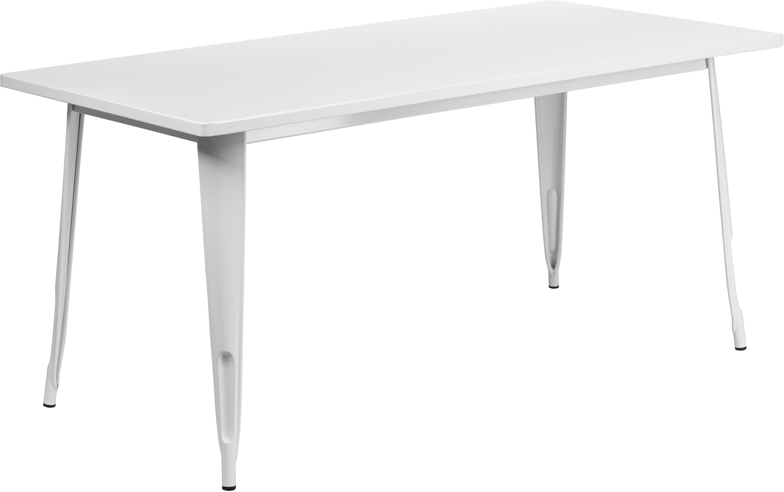 ERGONOMIC HOME 31.5'' x 63'' Rectangular White Metal Indoor-Outdoor Table