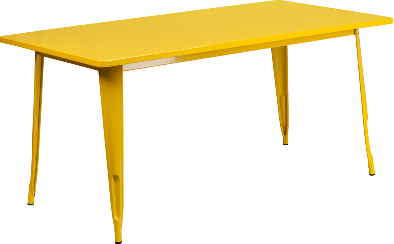 ERGONOMIC HOME 31.5'' x 63'' Rectangular Yellow Metal Indoor-Outdoor Table
