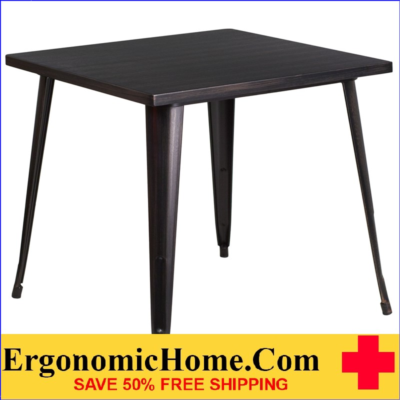 ERGONOMIC HOME 31.75'' Square Black-Antique Gold Metal Indoor-Outdoor Table | <b><font color=green>50% Off Read More Below...</font></b>