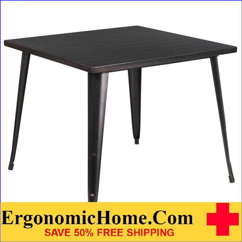 ERGONOMIC HOME 35.5'' Square Black-Antique Gold Metal Indoor-Outdoor Table | <b><font color=green>50% Off Read More Below...</font></b>