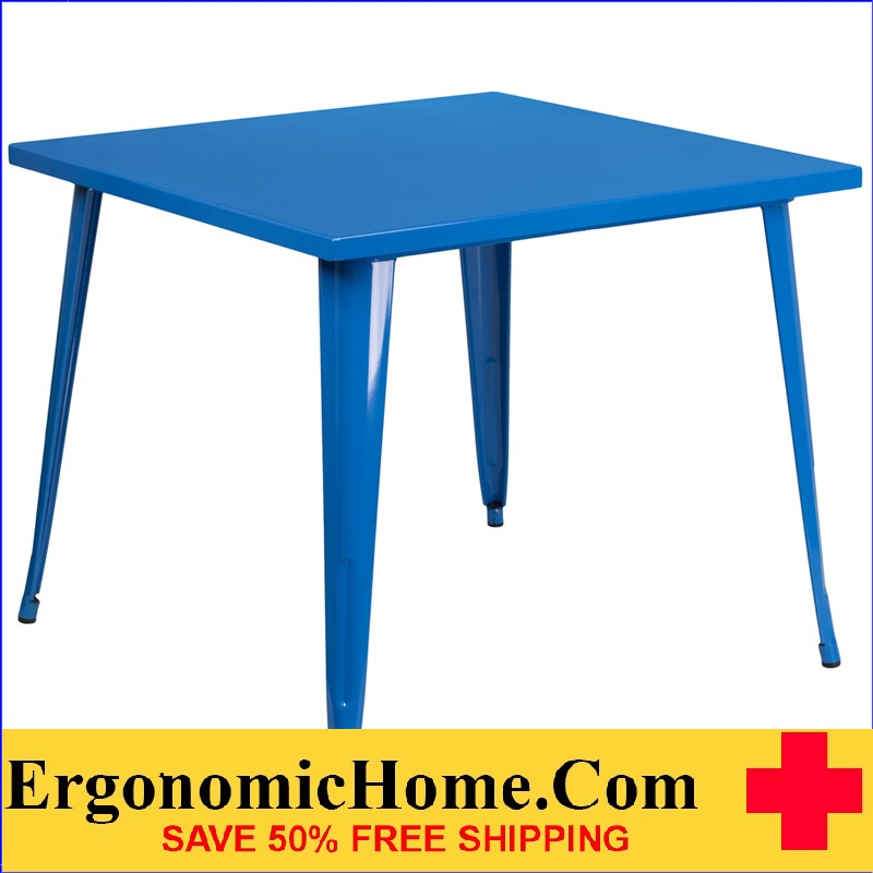 ERGONOMIC HOME 35.5'' Square Blue Metal Indoor-Outdoor Table | <b><font color=green>50% Off Read More Below...</font></b>