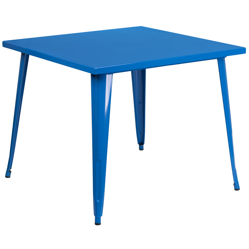 ERGONOMIC HOME 35.5'' Square Blue Metal Indoor-Outdoor Table