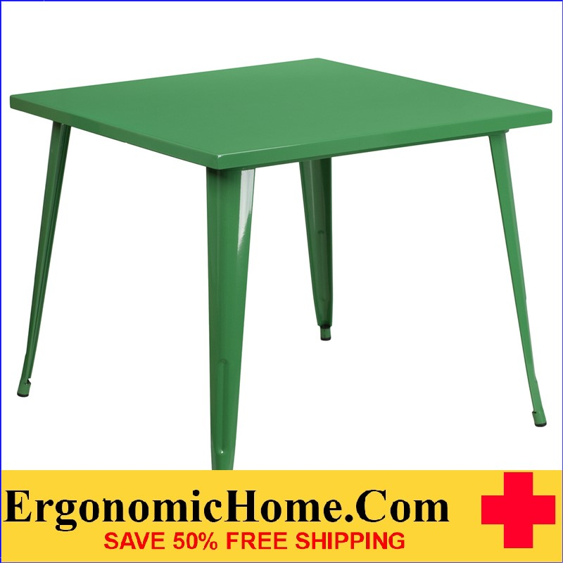 ERGONOMIC HOME 35.5'' Square Green Metal Indoor-Outdoor Table | <b><font color=green>50% Off Read More Below...</font></b>
