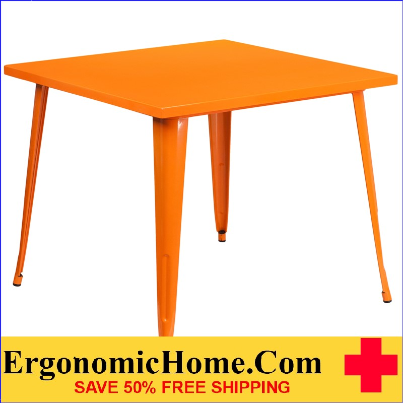 ERGONOMIC HOME 35.5'' Square Orange Metal Indoor-Outdoor Table | <b><font color=green>50% Off Read More Below...</font></b>