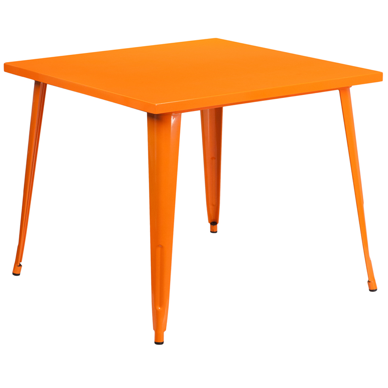 ERGONOMIC HOME 35.5'' Square Orange Metal Indoor-Outdoor Table