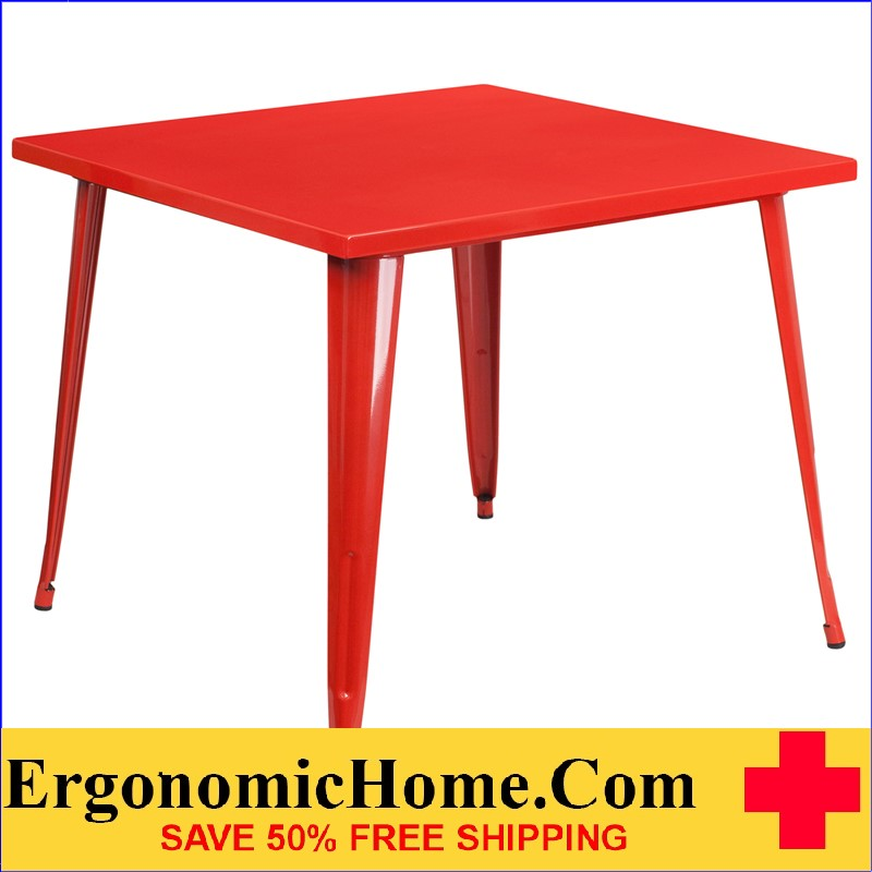 ERGONOMIC HOME 35.5'' Square Red Metal Indoor-Outdoor Table | <b><font color=green>50% Off Read More Below...</font></b>