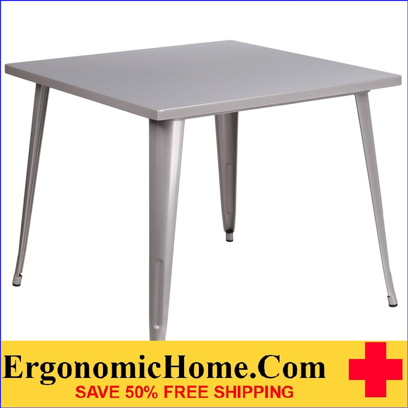 ERGONOMIC HOME 35.5'' Square Silver Metal Indoor-Outdoor Table | <b><font color=green>50% Off Read More Below...</font></b>
