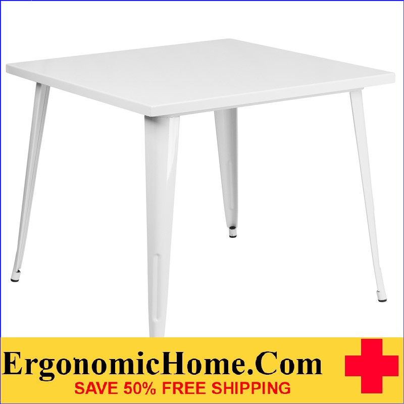 ERGONOMIC HOME 35.5'' Square White Metal Indoor-Outdoor Table | <b><font color=green>50% Off Read More Below...</font></b>