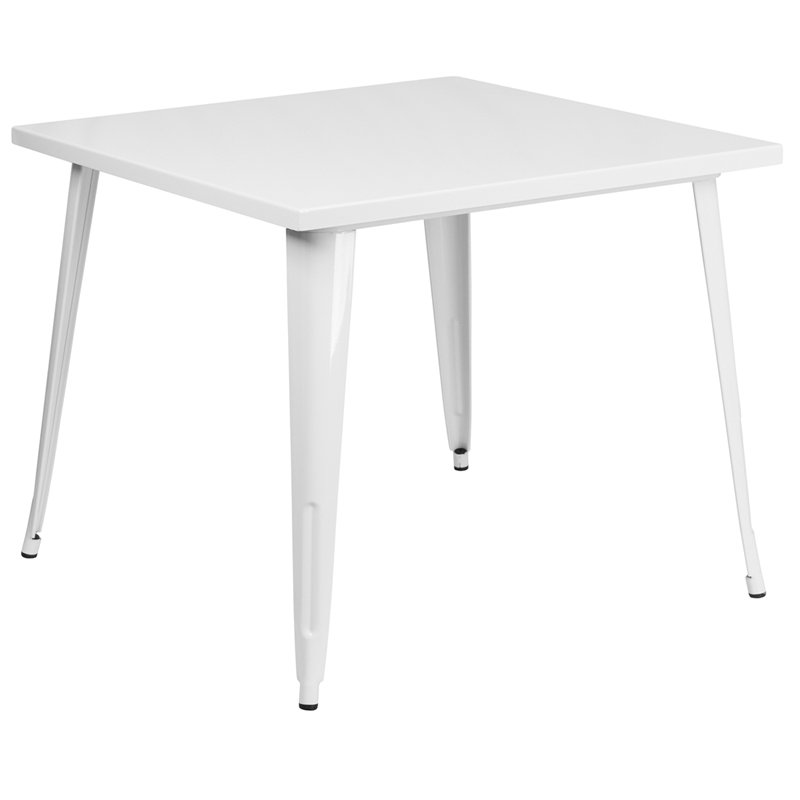 ERGONOMIC HOME 35.5'' Square White Metal Indoor-Outdoor Table