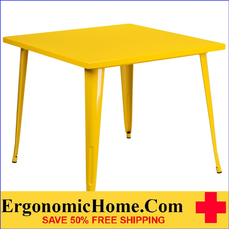 ERGONOMIC HOME 35.5'' Square Yellow Metal Indoor-Outdoor Table | <b><font color=green>50% Off Read More Below...</font></b>