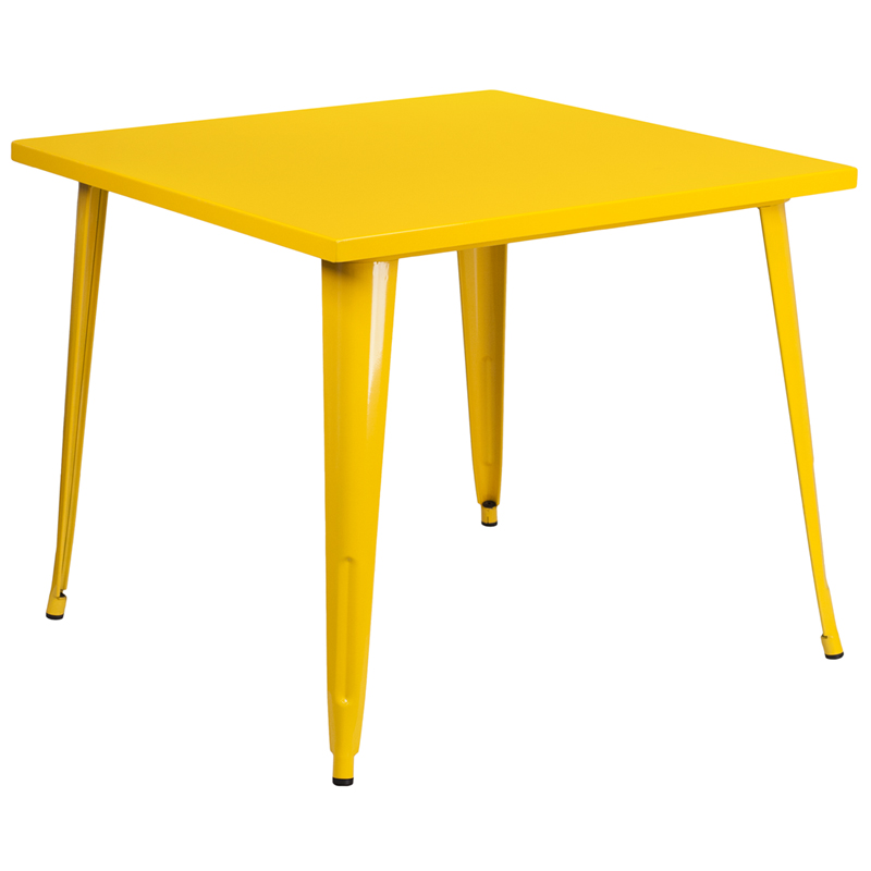 ERGONOMIC HOME 35.5'' Square Yellow Metal Indoor-Outdoor Table