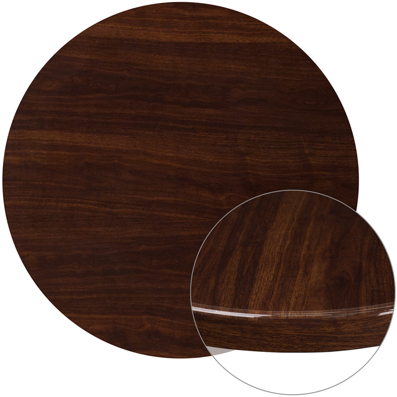 ERGONOMIC HOME 36'' Round Resin Walnut Table Top