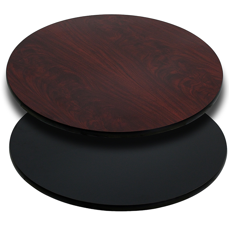 ERGONOMIC HOME 36'' Round Table Top with Black or Mahogany Reversible Laminate Top