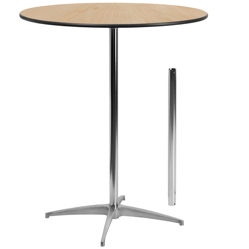 ERGONOMIC HOME 36'' Round Wood Cocktail Table with 30'' and 42'' Columns