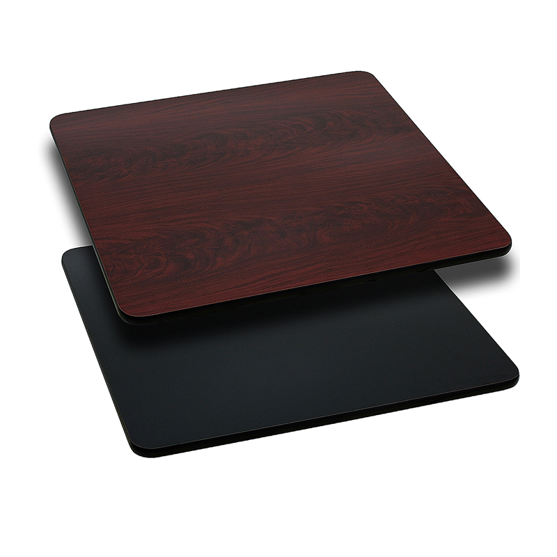 ERGONOMIC HOME 36'' Square Table Top with Black or Mahogany Reversible Laminate Top