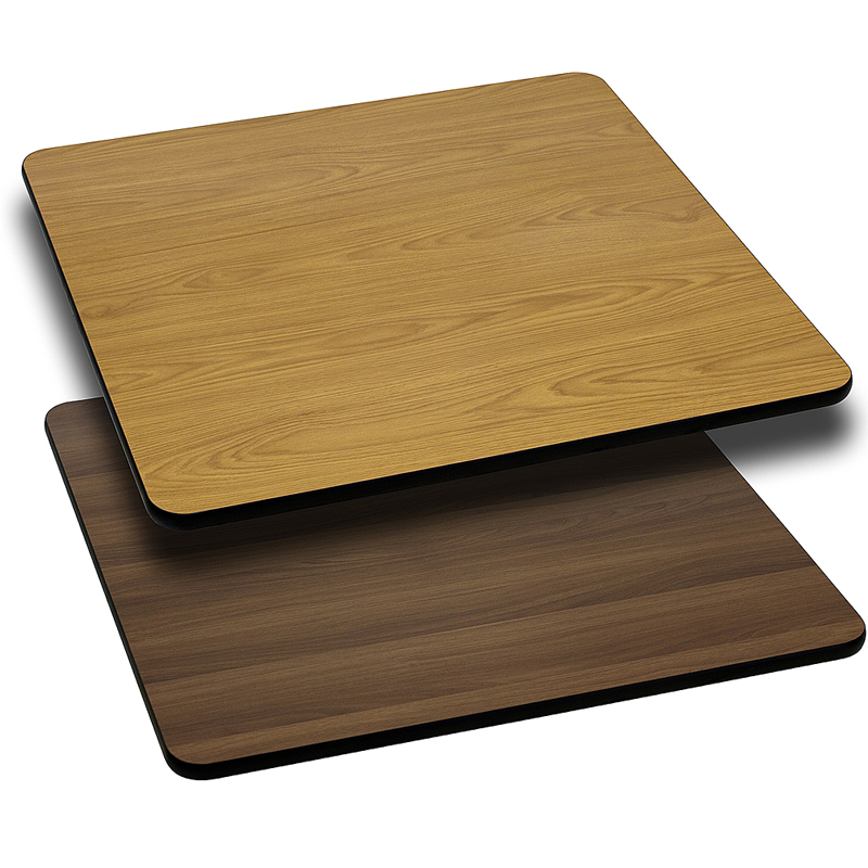 ERGONOMIC HOME 36'' Square Table Top with Natural or Walnut Reversible Laminate Top