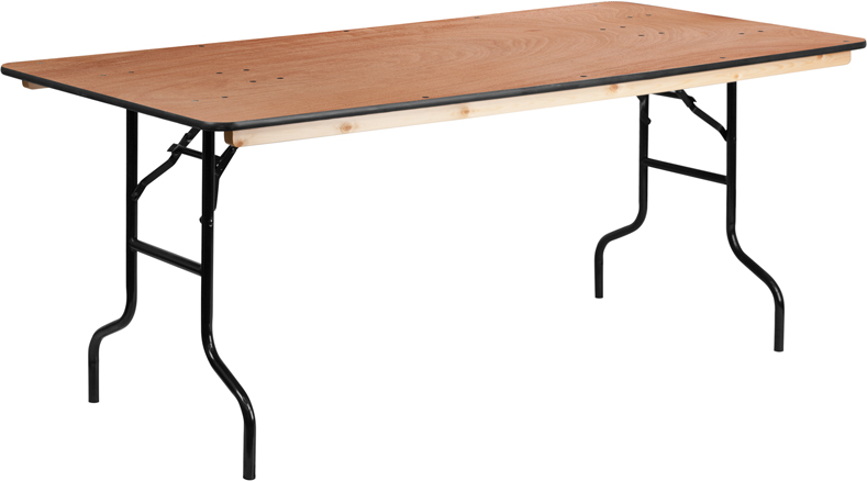 ERGONOMIC HOME 36'' x 72'' Rectangular Wood Folding Banquet Table with Clear Coated Finished Top