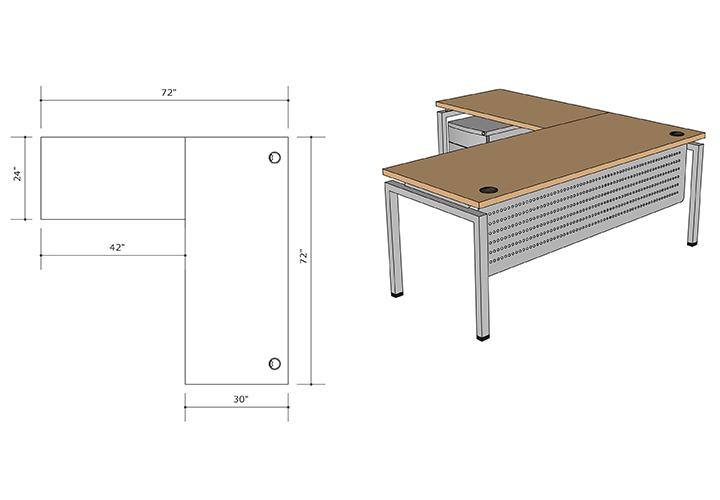 "L-Shape Workstations 72""x30"" w/ 42""x24"" Return unit. BBF Pedestal included</font></b>"