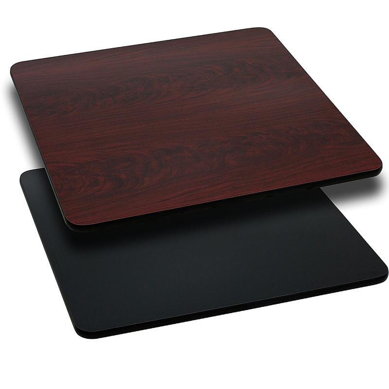 ERGONOMIC HOME 42'' Square Table Top with Black or Mahogany Reversible Laminate Top