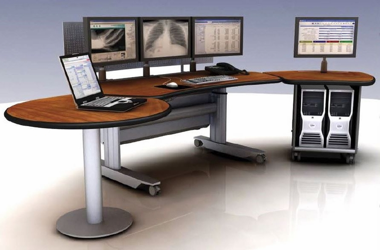 """SIT STAND DESK  BROADCAST CONSOLE SUITE #ERGOTRAC-MT-SL-6-B(8' 5"""" Wide) FREE SHIPPING:"""