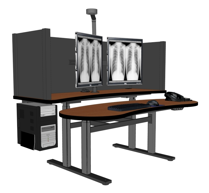 Pacs workstation standing desk radiology desk pacsrfq for Kneeling chair vs standing desk