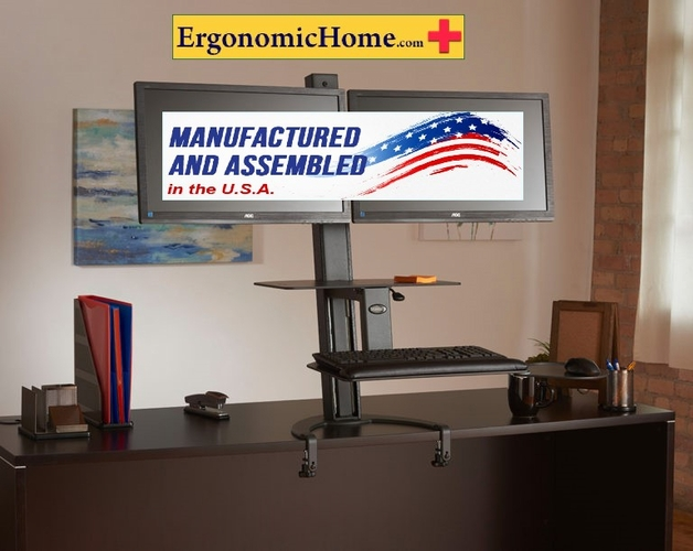 <font color=green>HEALTH POSTURES TASKMATE GO #6350 ADJUSTABLE DUAL MONITOR STAND. 100% MADE IN USA. 100% COMPLIANT W/BAA & TAA. READ MORE...</font>