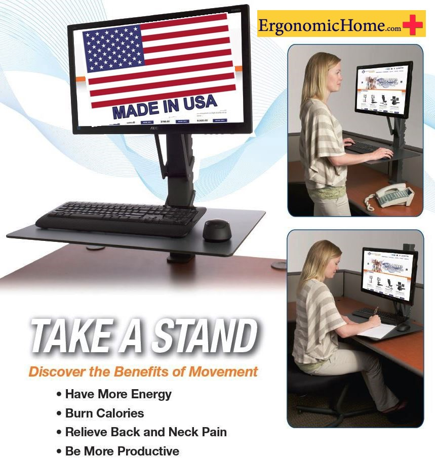 Health Postures TaskMate EZ 6400 | Adjustable Monitor Stand | <font color=#c60>100% Made in USA. BAA & TAA Compliant. Read More...</font>