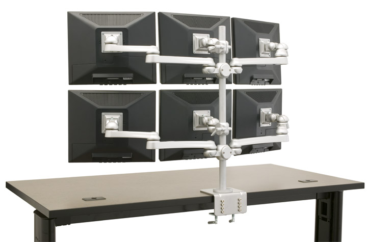 "MULTIPLE MONITOR STAND #EHMTR-6X IS ADJUSTABLE THAT HOLDS 6 EACH 19"" MONITORS ON ONE VERTICAL POLE:</b></font>"