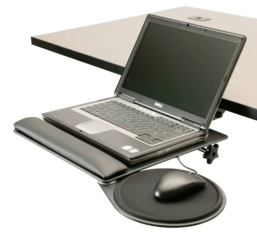 ErgonomicHome.com Notebook Stand w/Mouse Tray #LPT-TD. Allows you to store your laptop under your desk and has a teardrop mouse tray. A single knob allows you to adjust.