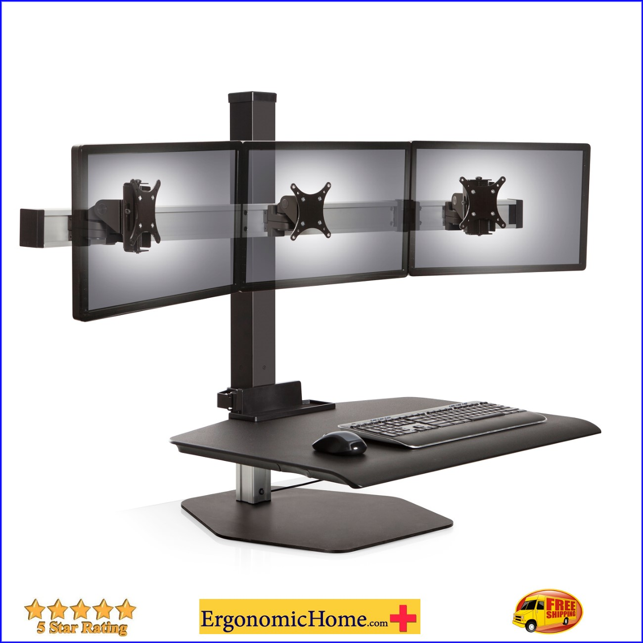 "Winston Sit Stand Workstation | Triple Monitor Stand #WSTN-3-FS Adjusts Vertically 17"" For Your Comfort. <font color=#c60>Read More...</font>"