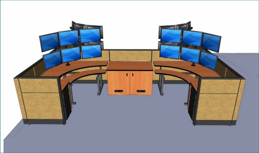 """BANANA QUAD CONTROL ROOM CONSOLE. INCLUDES EVERYTHING NEEDED FOR 4 CONTROL ROOM OPERATORS. INCLUDES 42""""H PANELS. TAA COMPLIANT. FREE SHIPPING:"""