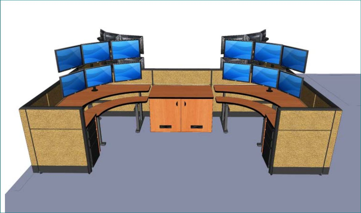 "</b></font>BANANA QUAD CONTROL ROOM CONSOLE. INCLUDES EVERYTHING NEEDED FOR 4 CONTROL ROOM OPERATORS. INCLUDES 42""H PANELS. TAA COMPLIANT. FREE SHIPPING:</b></font> </b></font></b>"