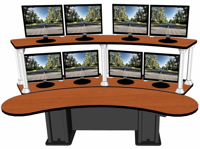"BANANA SPLIT CONTROL ROOM CONSOLE DUAL TIER. DIM: 104.25"" x 53.5""  VIDEO BELOW.</b></font>"