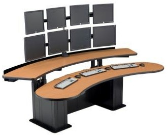 Command Center Furniture Design banana table, computer furniture desk, 911 dispatch furniture