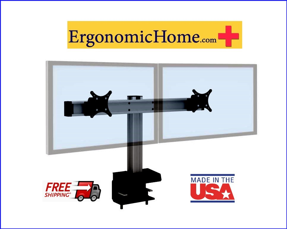 Ergonomic Home Innovative BILD Dual Monitor Stand #BILD-2. BILD Is Built Like A Hi-Rise Building with Vertical And Horizontal Beams For Strength And Rigidity.  Read More Below...