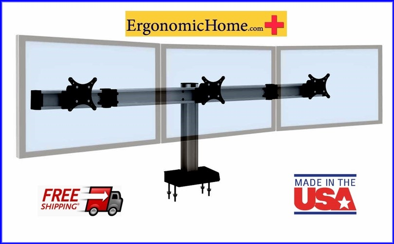Ergonomic Home Innovative BILD Adjustable Triple Monitor Mount #BILD-3. BILD Is Built Like A Hi-Rise Building with Vertical And Horizontal Beams For Strength And Rigidity. Read More Below...