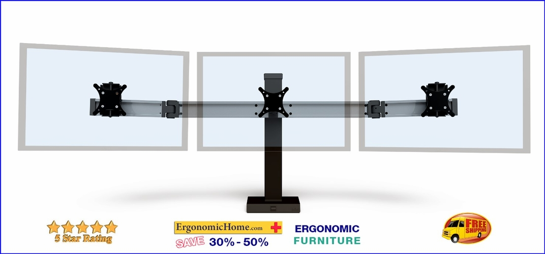 <font color=#c60>Ergonomic Home Innovative BILD Adjustable Triple Monitor Mount #BILD-3. BILD Is Built Like A Hi-Rise Building with Vertical And Horizontal Beams For Strength And Rigidity. Read More Below...</font>