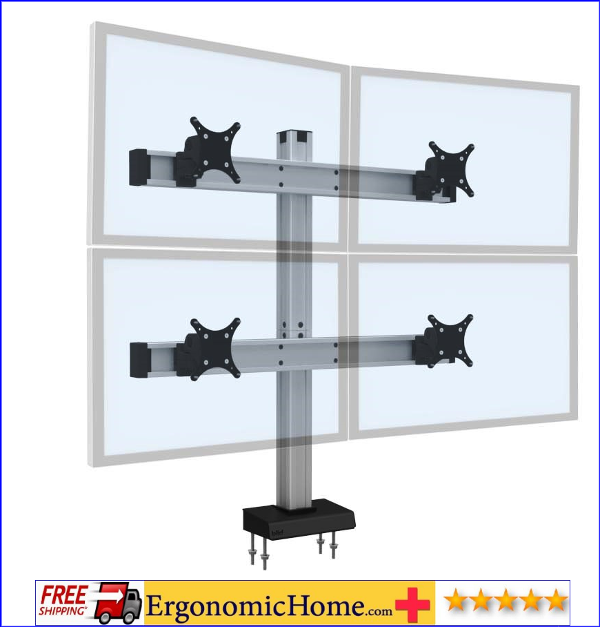 MASTER YOUR MONITORS W/THIS QUAD MONITOR STAND #BILD2OVER2 FROM ERGONOMICHOME.com:</font></b>