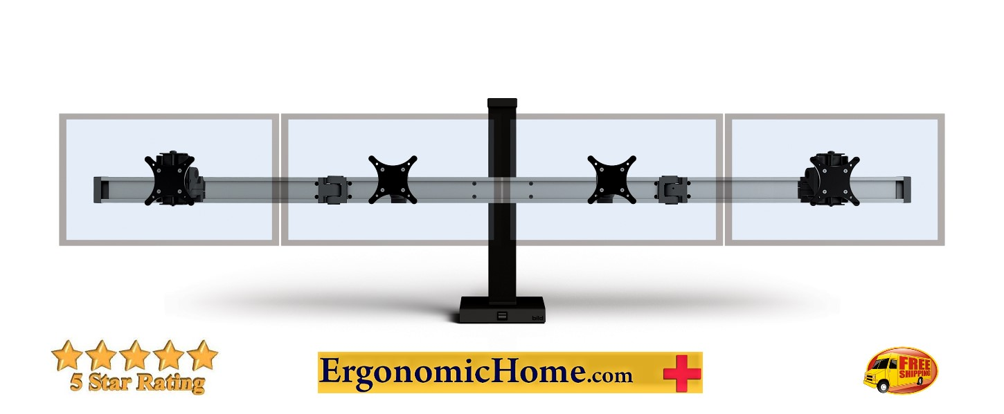 <font color=#c60>Ergonomic Home BILD Monitor Stand #BILD-4-CM. Mounts 4-Monitors Side by Side w/Static Column. Built Like A Hi-Rise Building with Vertical And Horizontal Beams For Strength And Rigidity. Read More Below...</font>