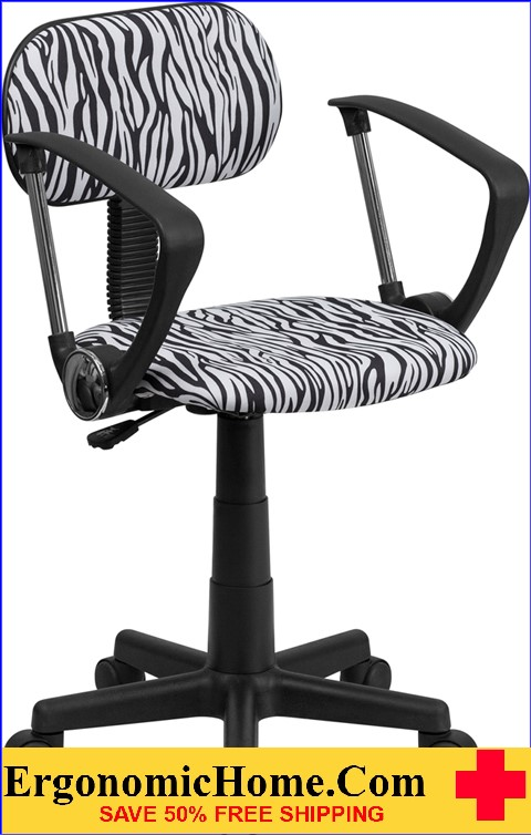 Ergonomic Home Black and White Zebra Print Swivel Task Chair with Arms <b><font color=green>50% Off Read More Below...</font></b>