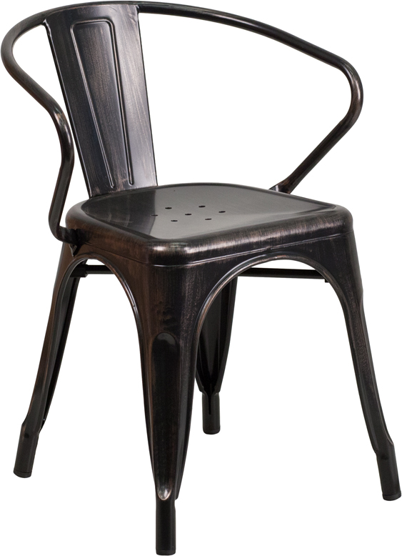 ERGONOMIC HOME Black-Antique Gold Metal Indoor-Outdoor Chair with Arms