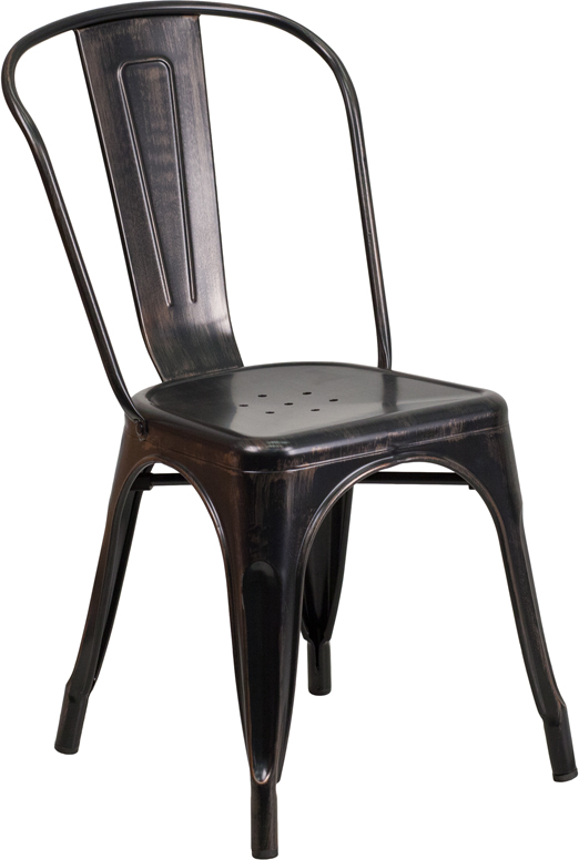 ERGONOMIC HOME Black-Antique Gold Metal Indoor-Outdoor Stackable Chair