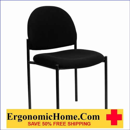 Ergonomic Home Black Fabric Comfortable Stackable Steel Side Chair EH-BT-515-1-BK-GG  <b><font color=green>50% Off Read More Below...</font></b>