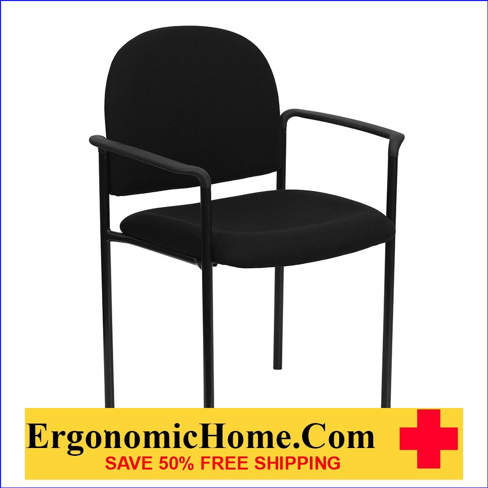 </b></font>Ergonomic Home Black Fabric Comfortable Stackable Steel Side Chair with Arms EH-BT-516-1-BK-GG <b></font>. </b></font></b>
