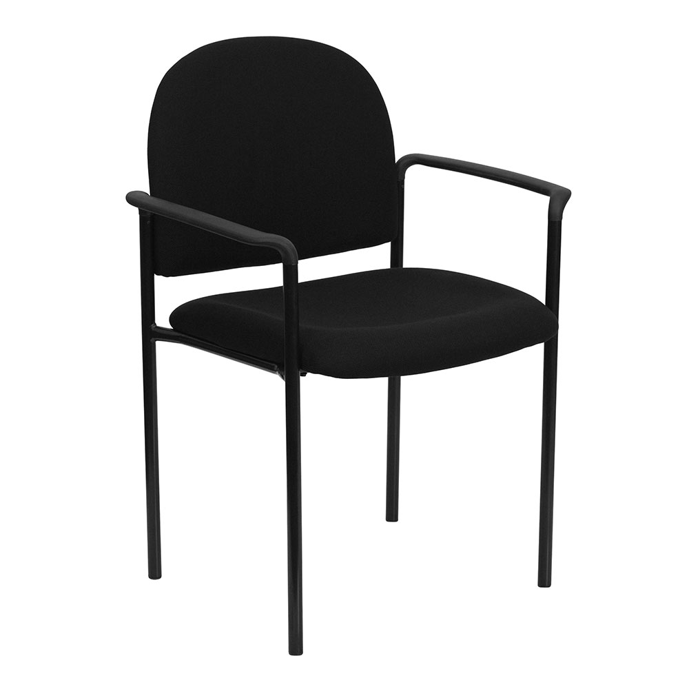 Black Fabric Comfortable Stackable Steel Side Chair with Arms
