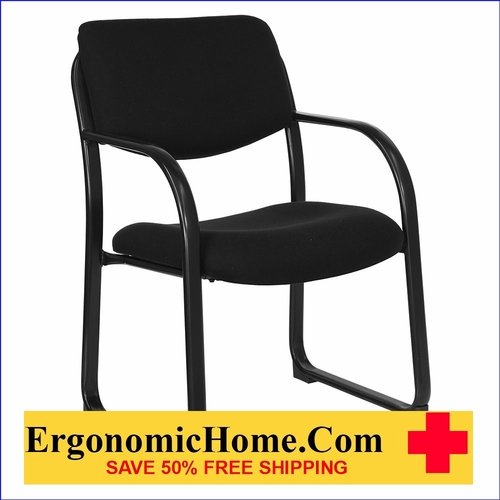 Ergonomic Home Black Fabric Executive Side Chair with Sled Base  EH-BT-508-BK-GG <b><font color=green>50% Off Read More Below...</font></b>