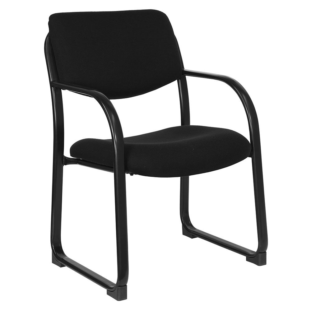 Black Fabric Executive Side Chair with Sled Base